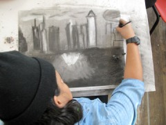 Drawing with charcoal. (2012)