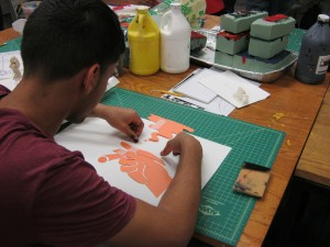 Working with stencils. (2012)