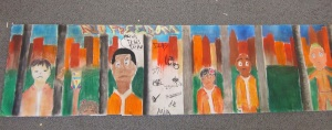 The perception group collaborates on a 'visual letter' using chalk pastels