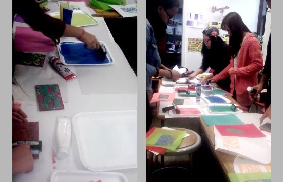 Students explore lino-cut printmaking.