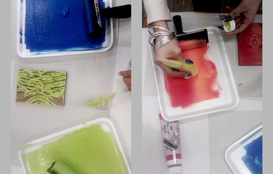 They mix primary colours, to create inks in secondary and tertiary ones, exploring varied shades and tints.