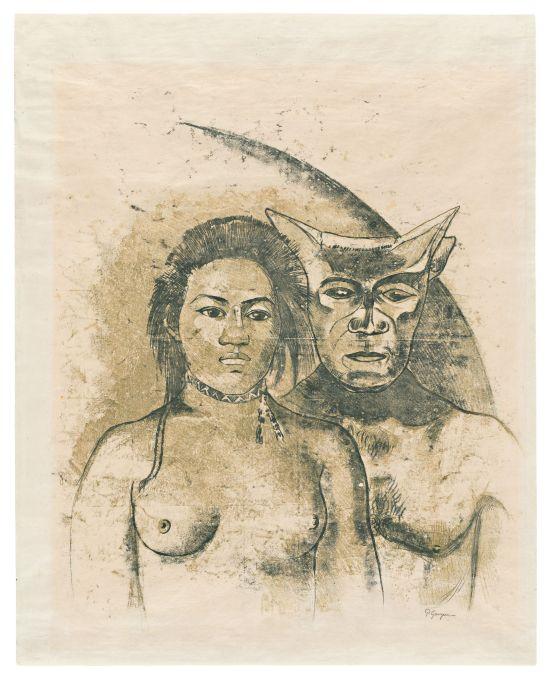 Tahitian Woman with Evil Spirit. c.1900. Paul Gauguin