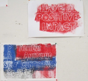 In my Art in Education 15500 class, students worked to define their goals as both artists and teachers.  They created these relief prints of the most important words related to those goals.