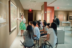 Teaching a group of high school students in the galleries. (photo credit: Rubin Museum of Art)